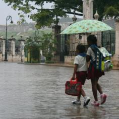 A brother and sister walk home in a brief afternoon storm.