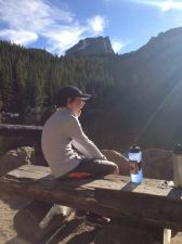 My son enjoys his dinner on Bear Lake Trail as we acclimate to the altitude on our first night there.