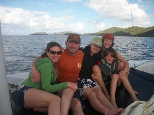 The family enjoying the Virgin Islands.